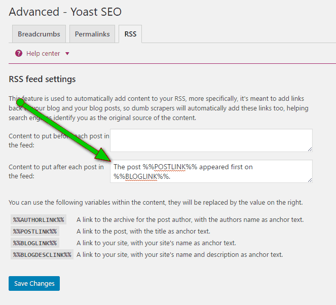 Yoast settings for removing The Post First appeared on text
