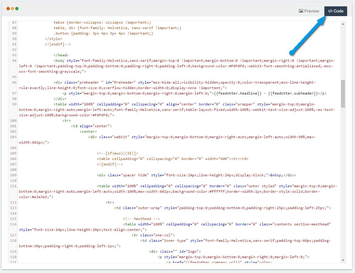 Edit the CODE tab