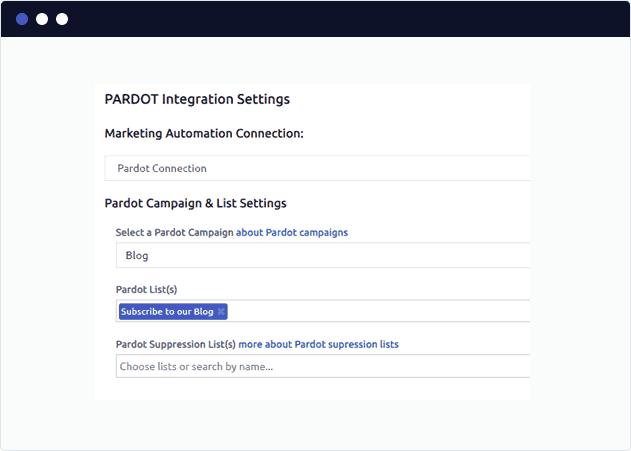 Select a Pardot Blog Subscriber List