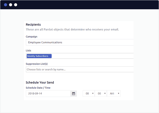 Scheduling a curated pardot newsletter