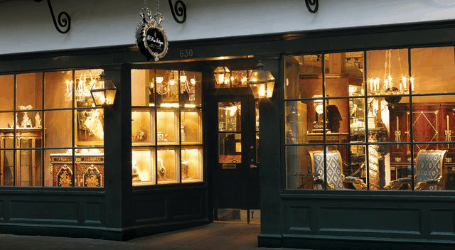 Glowing Storefront with Lanterns