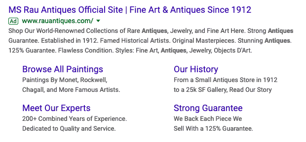Google Search Results for Antique Site