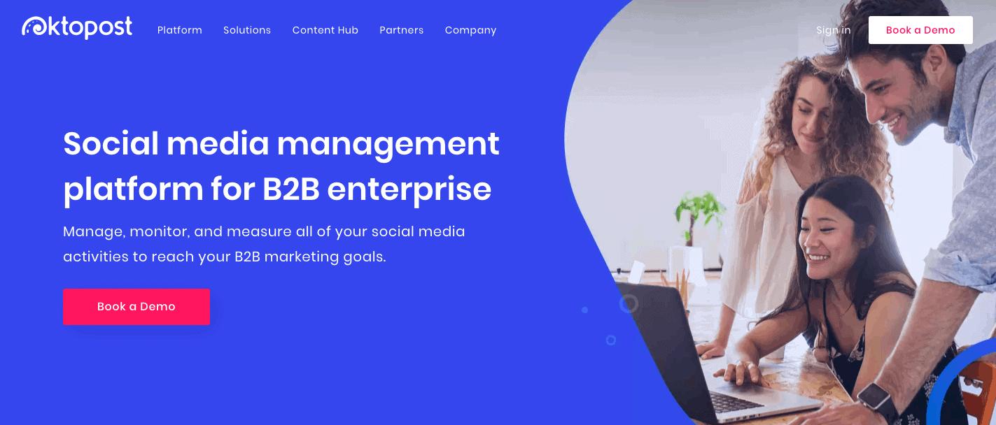 OktoPost Homepage Screenshot