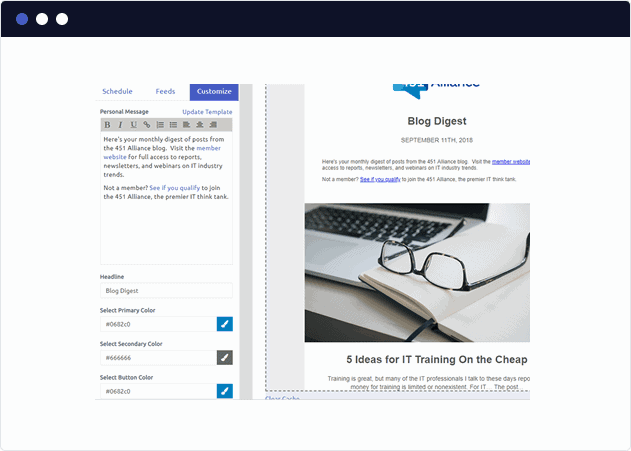 A newly created blog digest featuring a Blue and White color scheme