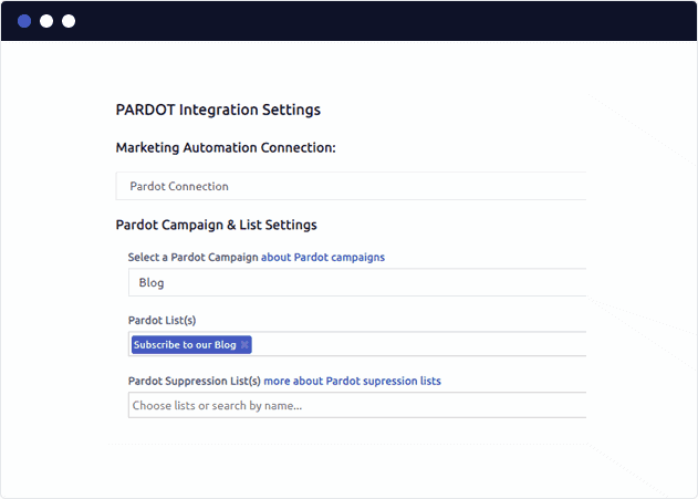 A display window walkthrough for the Pardot Integration