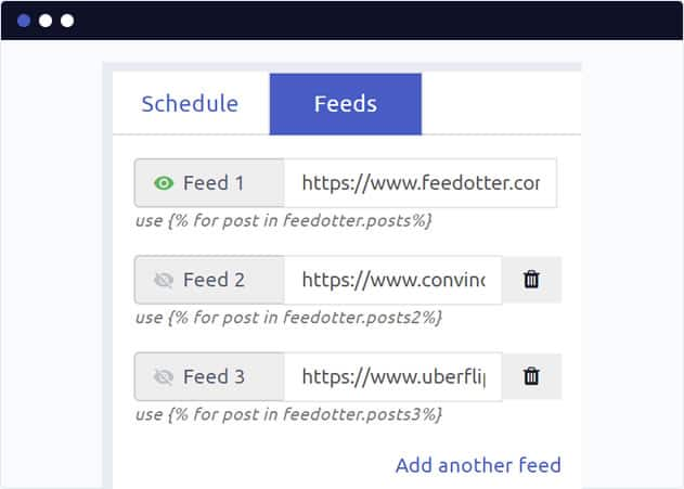 Add one or more RSS feeds to provide data to your RSS email.