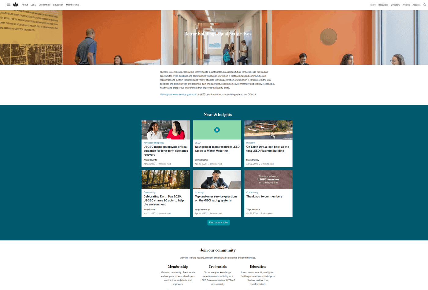 Content on the USGBC Homepage