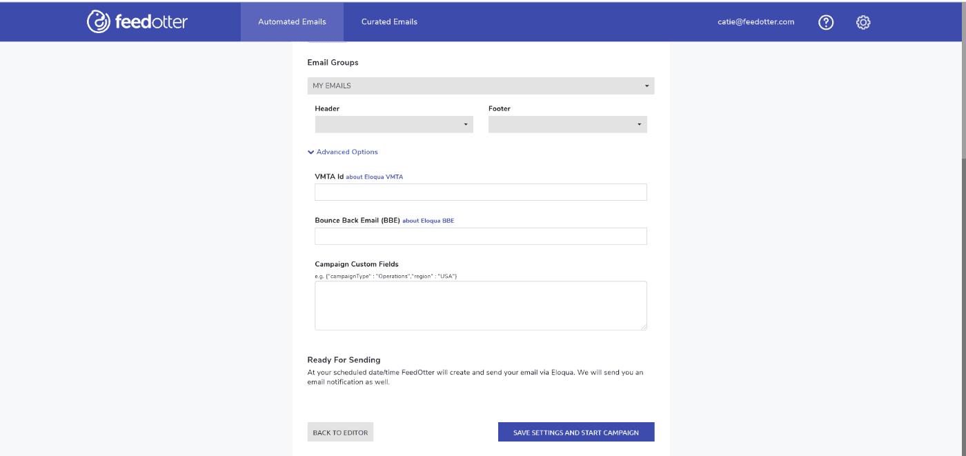 Eloqua RSS Email advanced options
