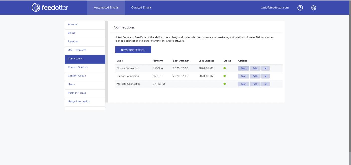 Test Eloqua RSS Email Connection