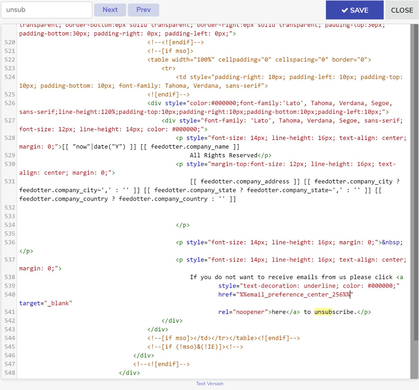 FeedOtter Code Window showing custom Pardot token