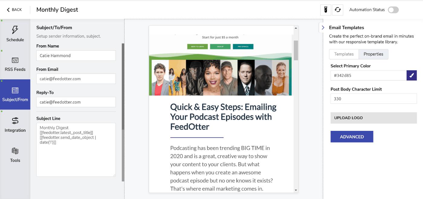 FeedOtter Marketo RSS email setup screen.