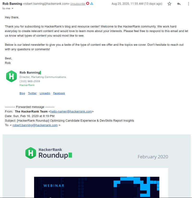 HackerRank Welcome Email
