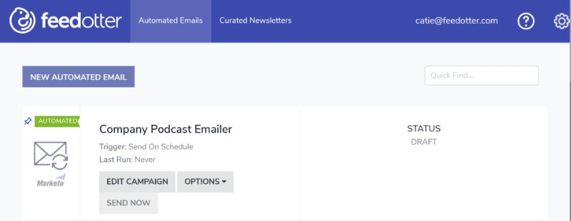 Emailing your Podcast step 1: create new automated email