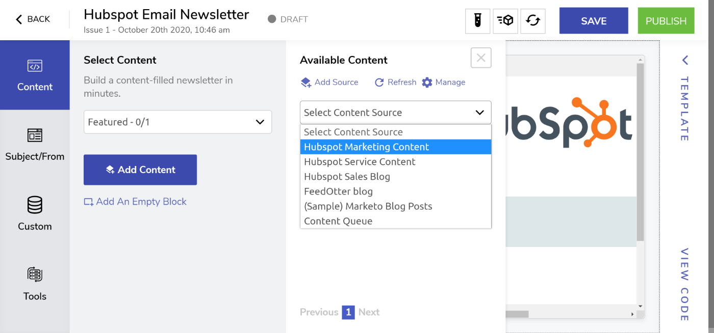 Add content to your Hubspot email newsletter