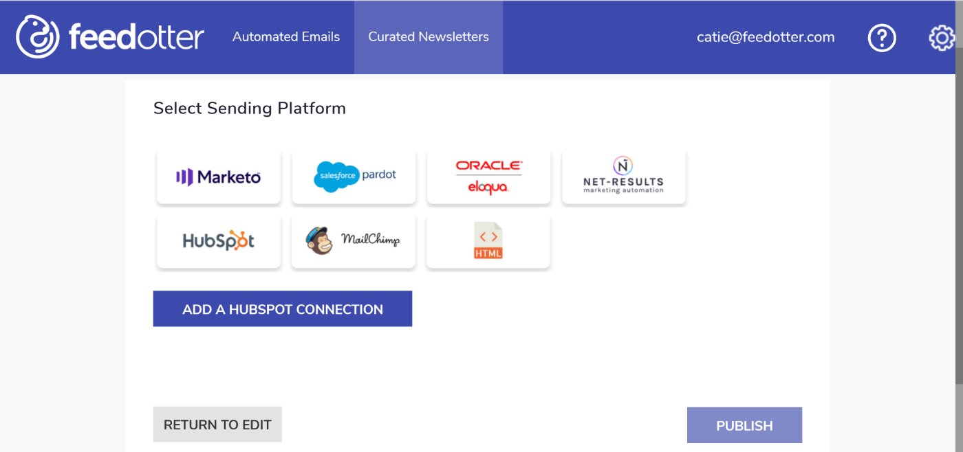 Add a Hubspot connection to send your Hubspot email newsletter with FeedOtter