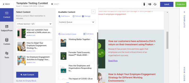 Clearing/Editing/Organizing Content Queue in Curated Newsletter