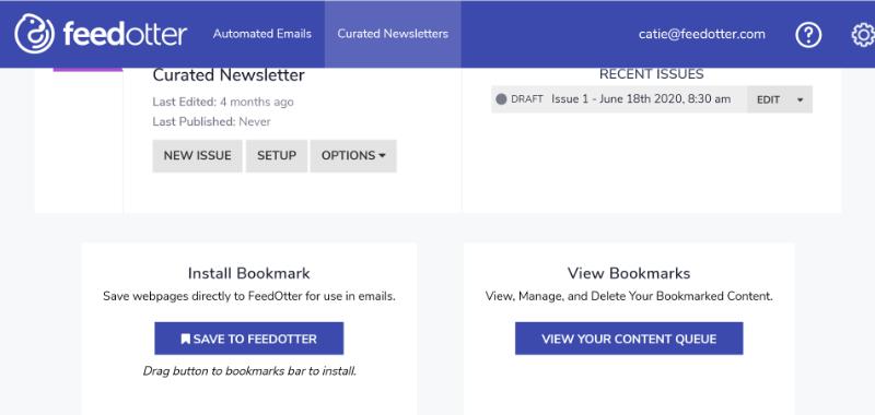 Installing FeedOtter bookmark