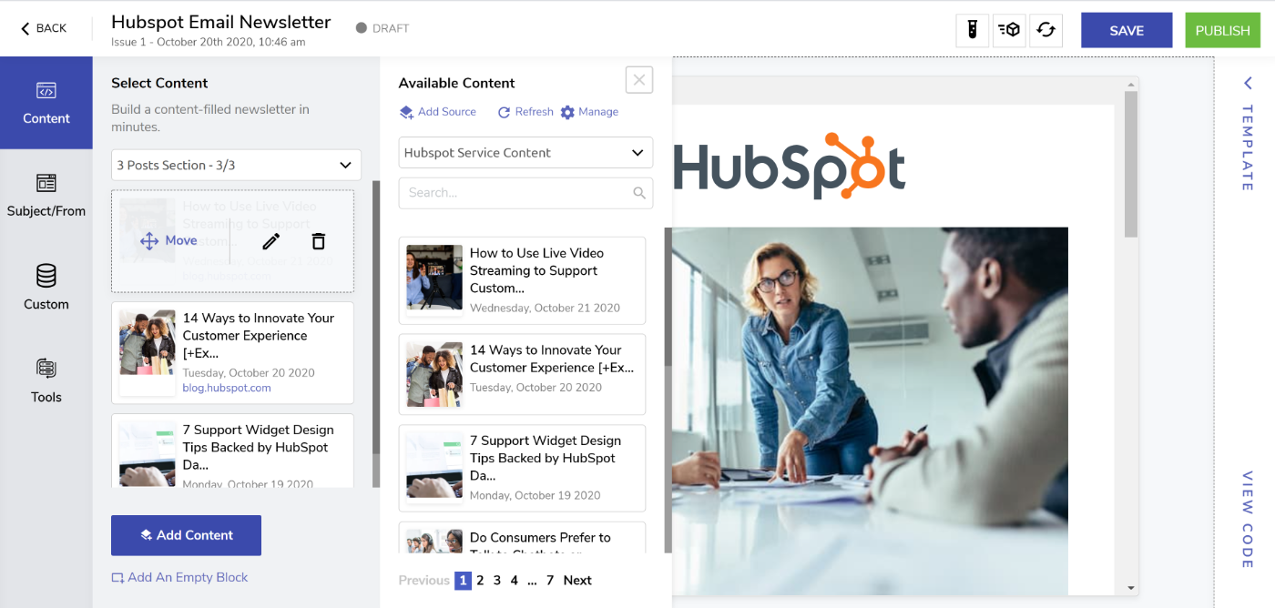 Rearrange and edit content in your Hubspot email newsletter
