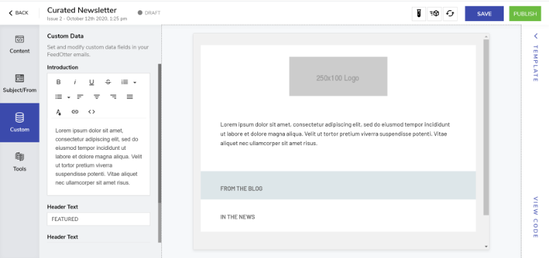 Custom Fields Tab in Curated Newsletter
