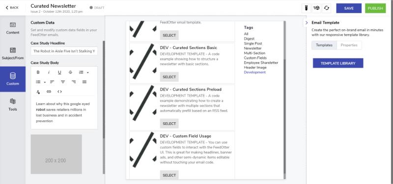 Development FeedOtter template for custom field usage