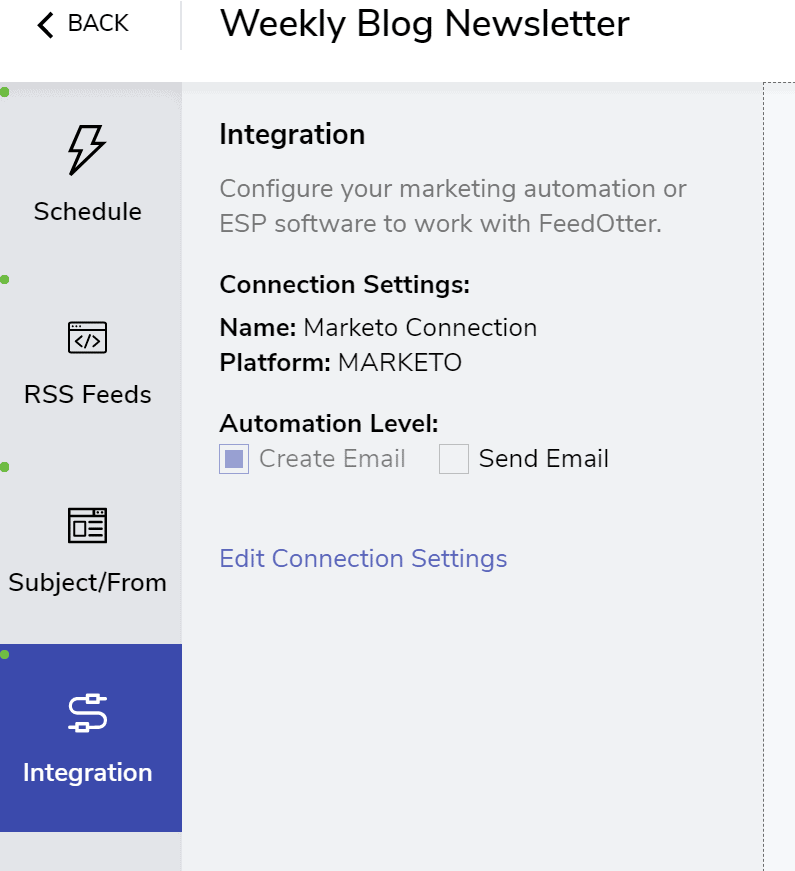 Marketo Connection Settings in FeedOtter