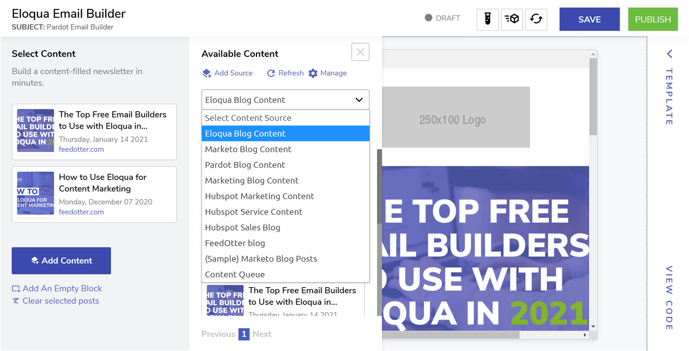 Eloqua email builder for Newsletters