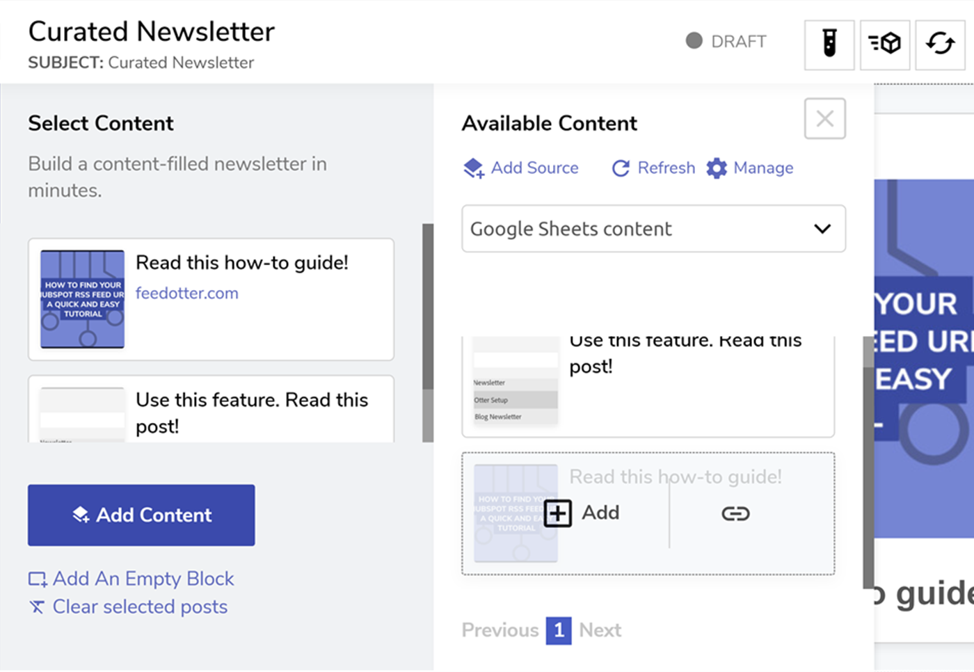 Google Sheets to newsletter in FeedOtter Curated Builder