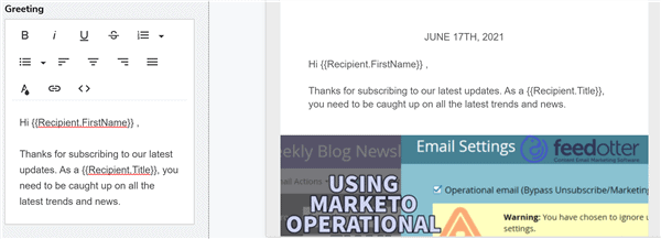 Pardot Personalization in email greetings