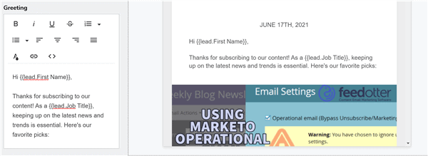 Marketo personalization in email greeting