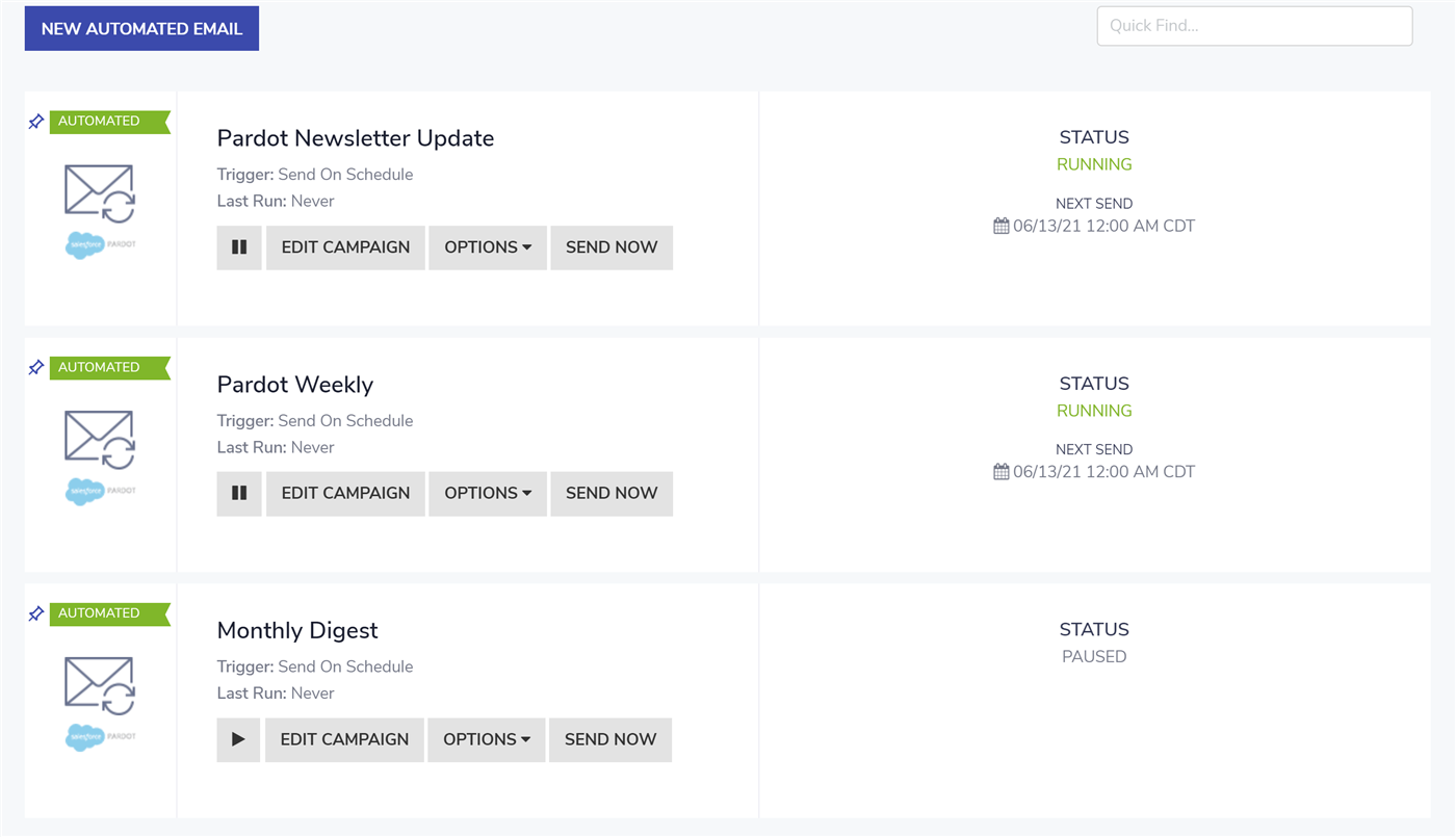 FeedOtter's Pardot email builder allows you to schedule multiple email sends.
