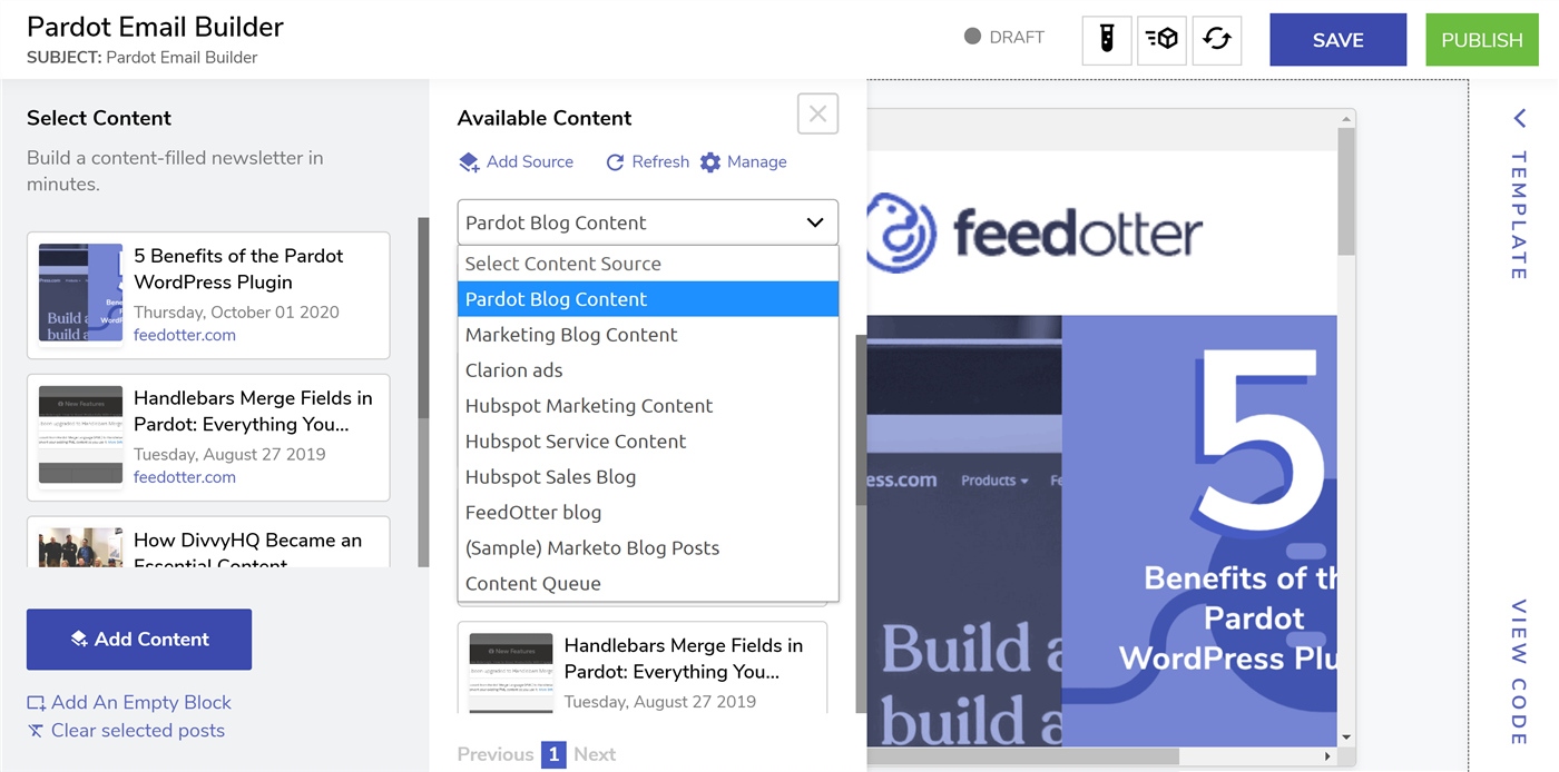 Pardot Email Builder for newsletters and creative control of your content.
