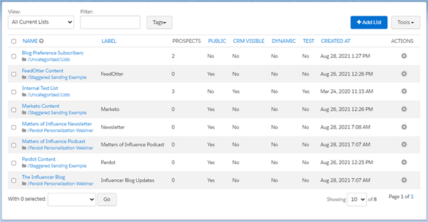 Pardot Lists for creating personalized content emails