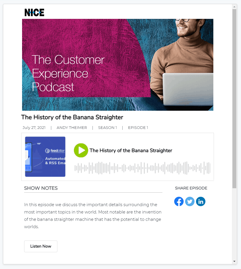 Marketo Podcast email template for emailing your podcast with Marketo