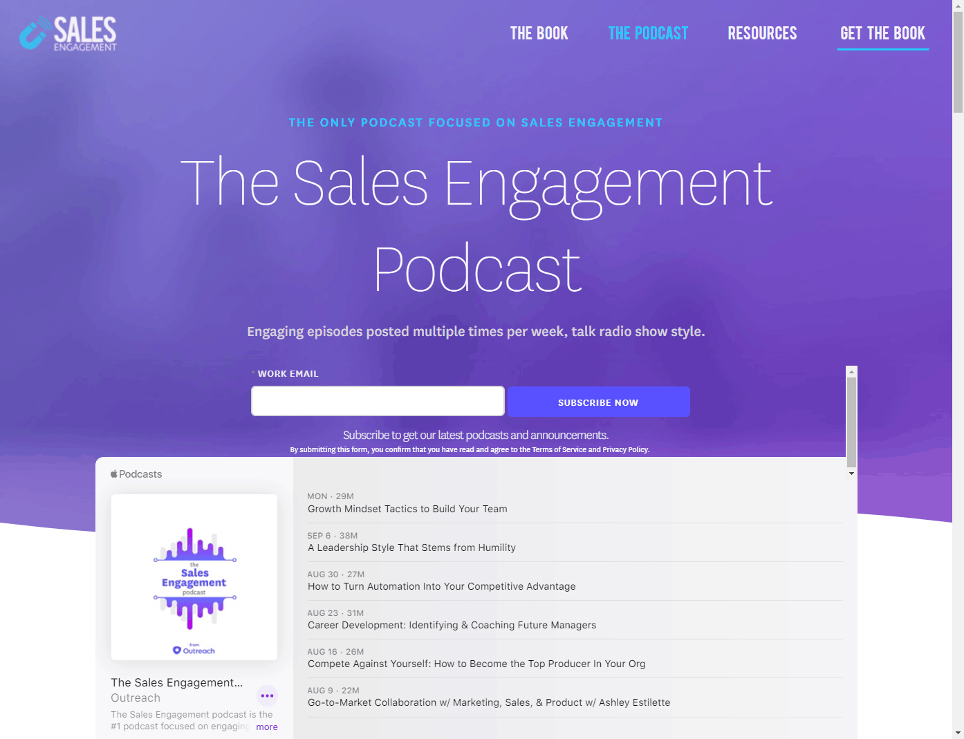 The Sales Engagement Podcast example for emailing your podcast with Marketo